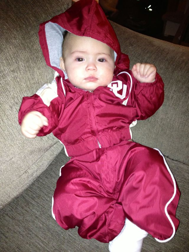 When he left, I suited up to support our favorite football team, GoooOOOOOOOO Oklahoma! Thank you to Uncle Darrell and Aunt Jana for my cool getup!