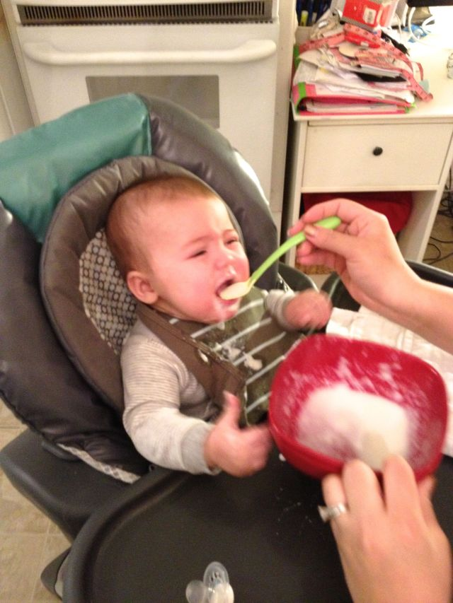 Once I figured out I liked it, I would cry every time Daddy took the spoon out of my mouth.
