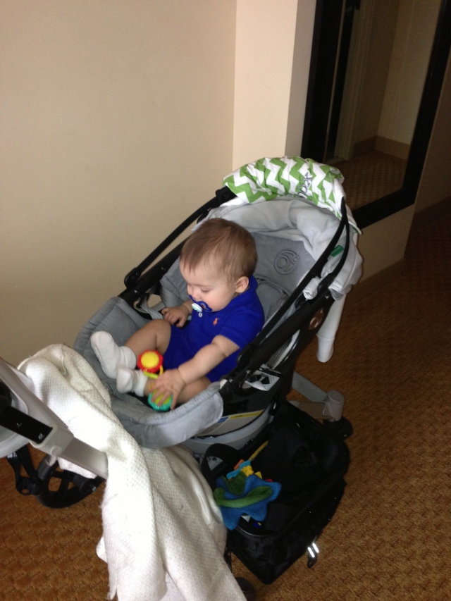 I have learned how to sit up in my stroller now, which is not good for Mom and Dad.