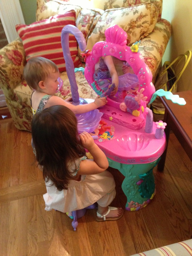 Adora loved playing with the LIttle Mermaid Vanity mirror.