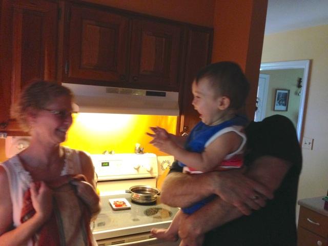 Grandma and Grandpa tickled me pink. They always make me giggle!